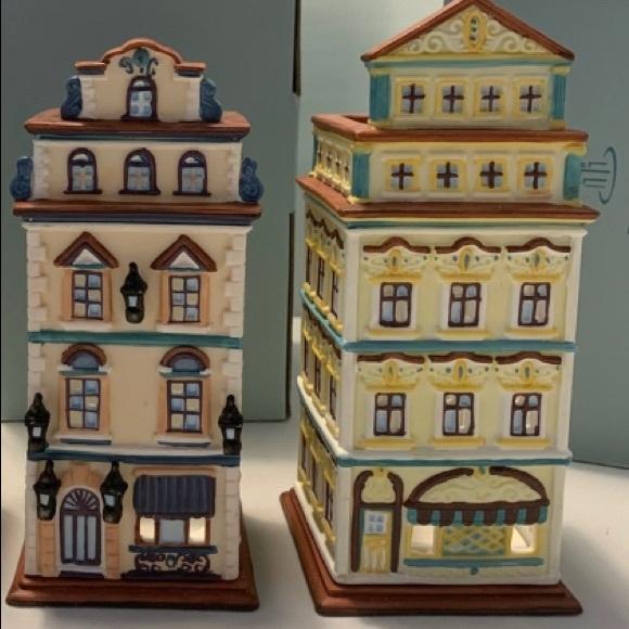 Set of 4 Vintage Retired PARTYLITE Buildings NIB